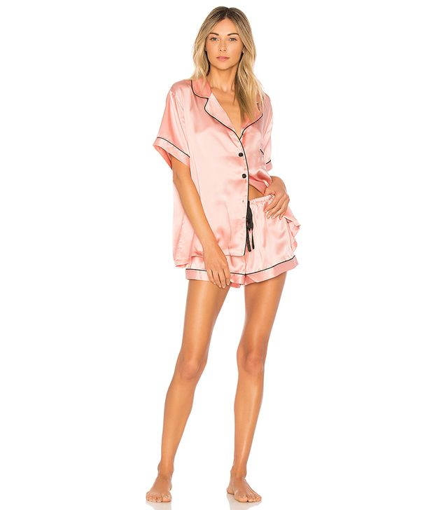 Silk Short Pajama Set in Rose. - size M (also in L,S)