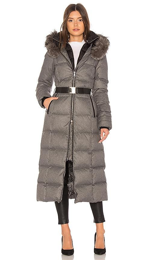 Mariana Long Puffer Coat in Gray. - size L (also in M,S,XS)