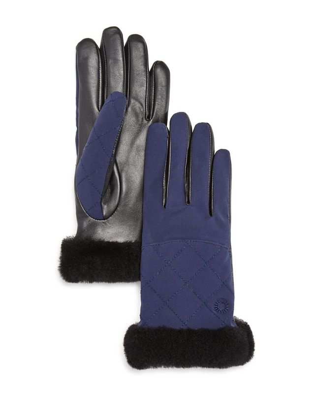 Quilted Leather & Sheepskin Tech Gloves