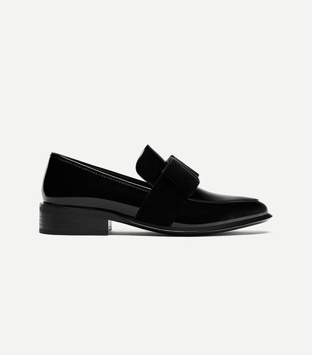 Zara Loafers With Velvet Bow