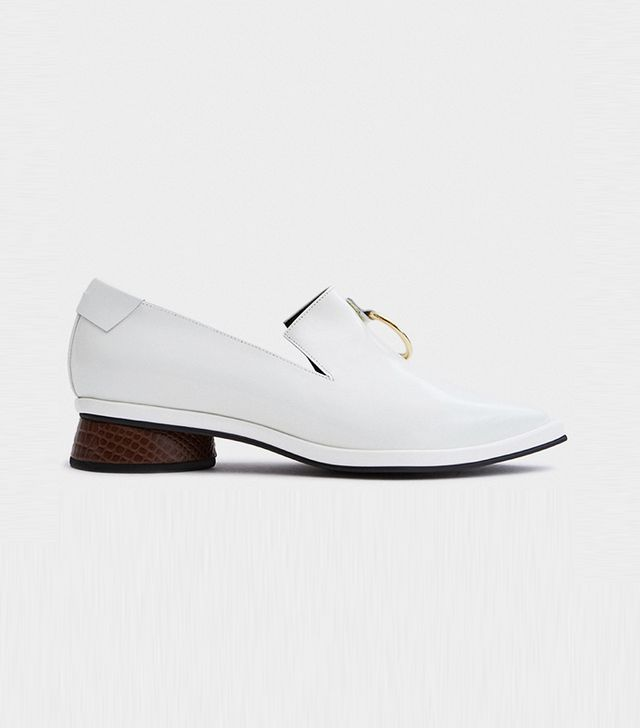Ring Square Loafer in White/Brown