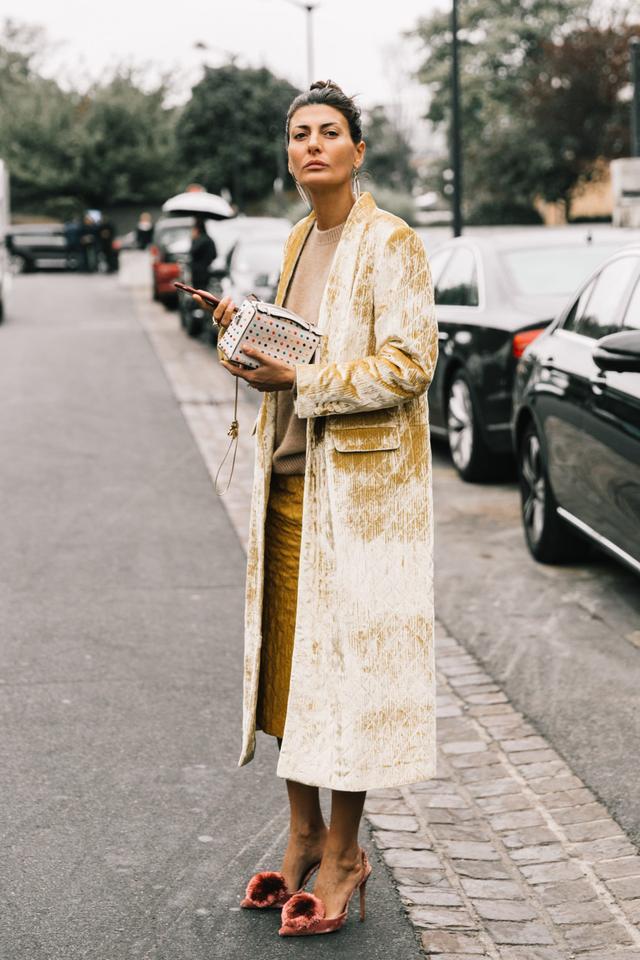 Giovanna Battaglia wears winter birthday outfit