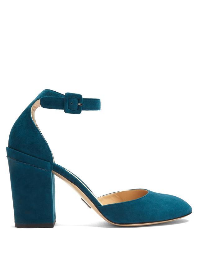Bastioni block-heel suede pumps