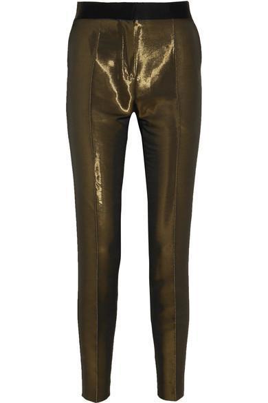 Metallic Crepe Skinny Tuxedo Pants