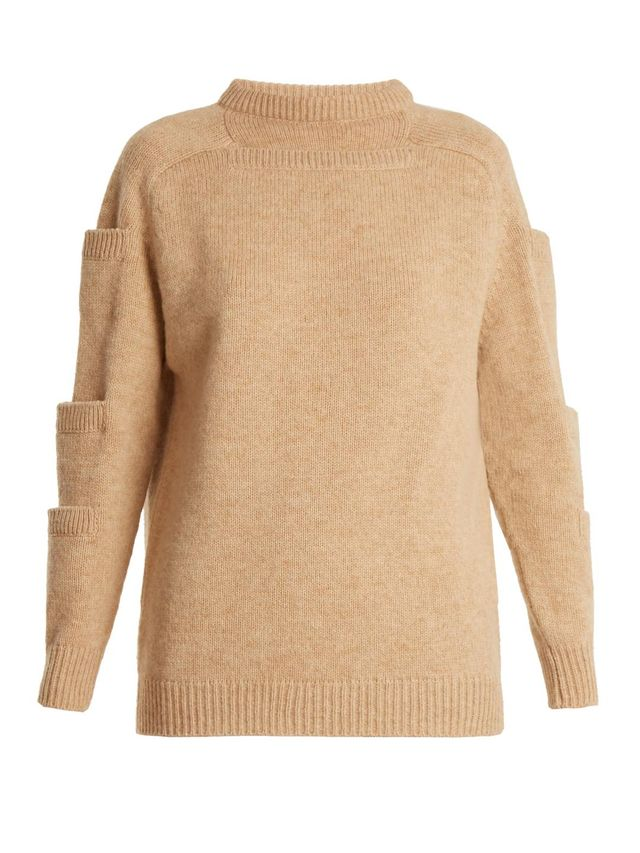 Crew-neck pocket-detail wool sweater