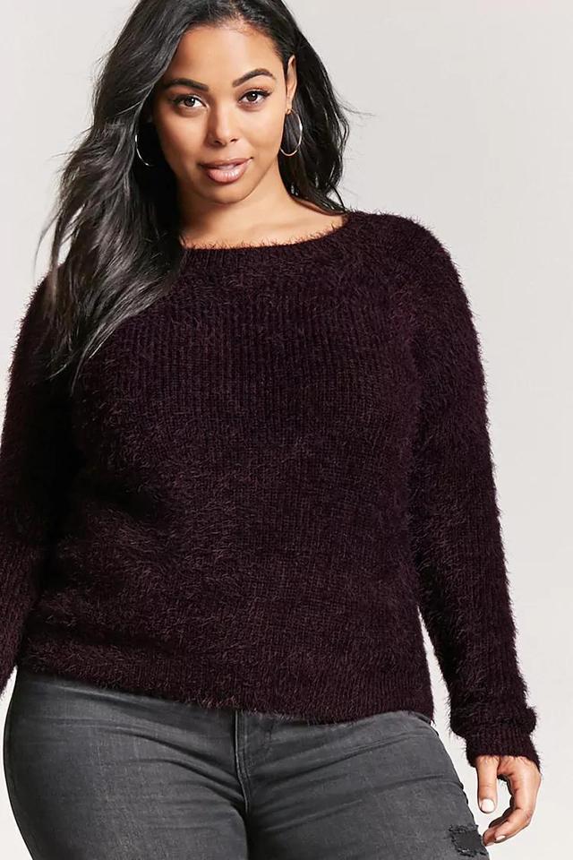 Plus Size Fuzzy Knit Sweater