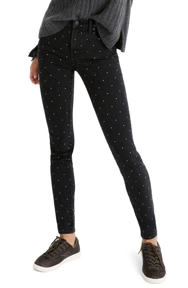 9-Inch Metallic Dot Skinny Jeans