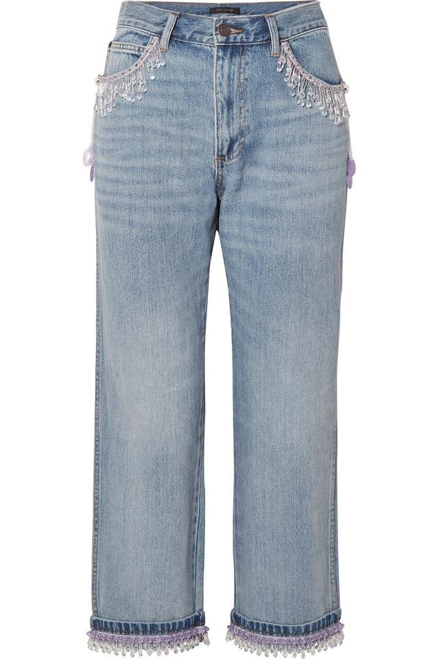 Cropped Bead-embellished Boyfriend Jeans