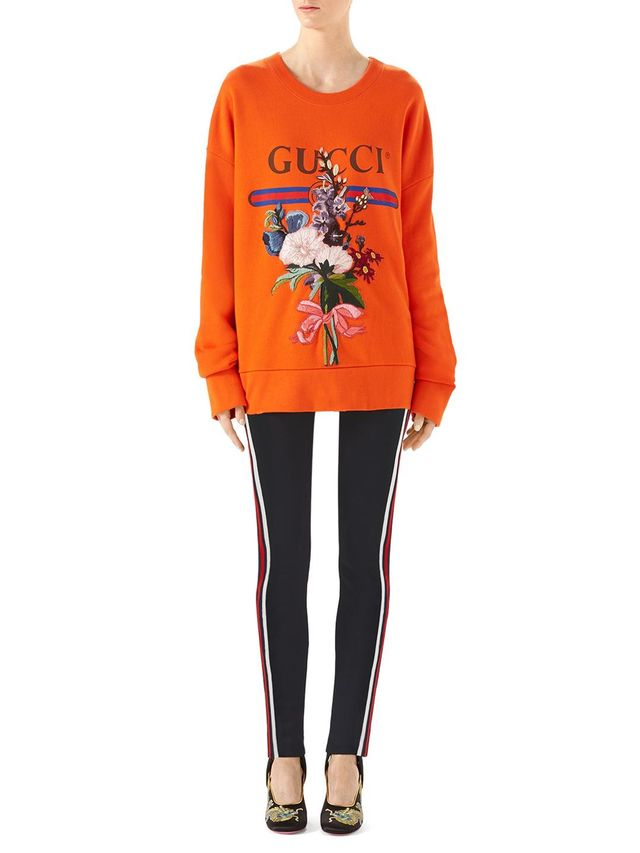 Logo Floral-Embroidered Sweatshirt