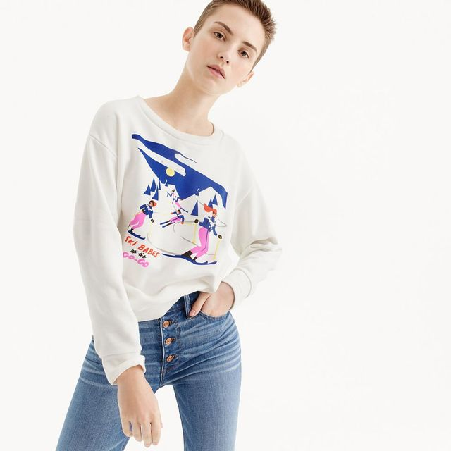 "Virginie Morgand X J.Crew ""Ski Babes on the go-go"" graphic sweatshirt"