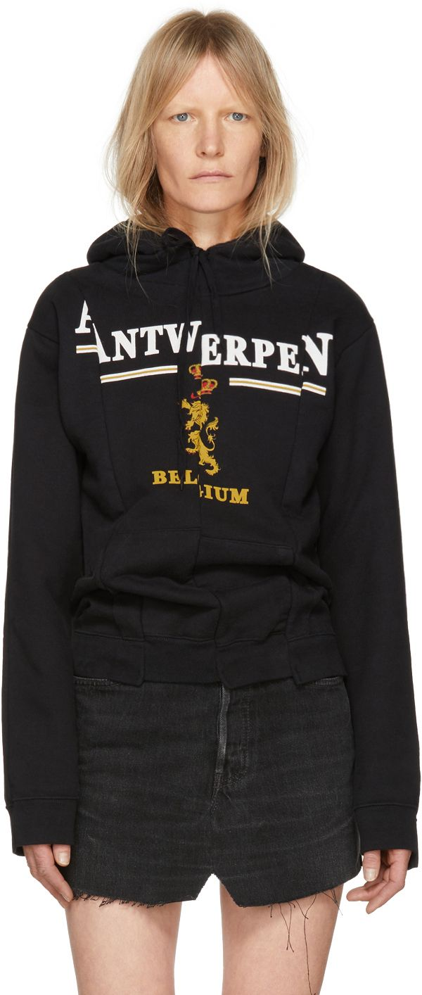Vetements Black 'Antwerp' Fitted Cut Up Hoodie