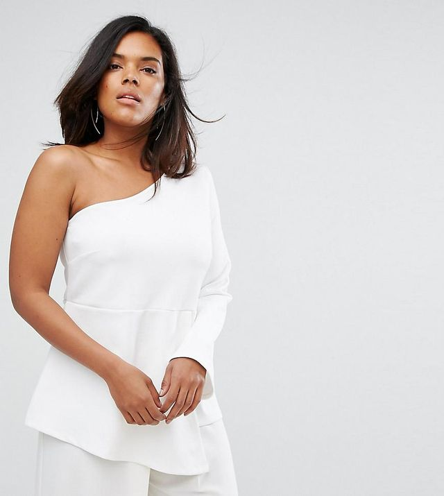 ASOS CURVE One Shoulder Scuba Top with Fluted Sleeve
