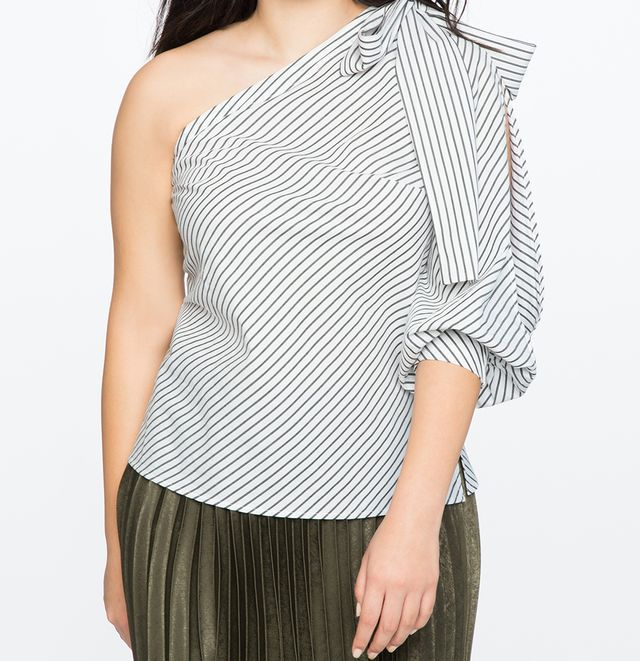 Eloquii One Shoulder Bow Top