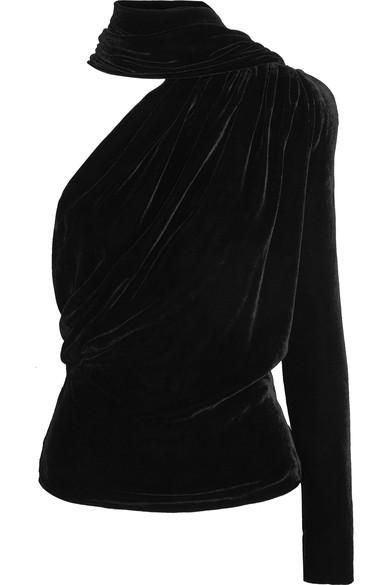 Open-back One-shoulder Velvet Top