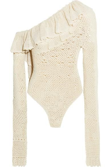 Natal One-shoulder Ruffled Crocheted Cotton-blend Bodysuit