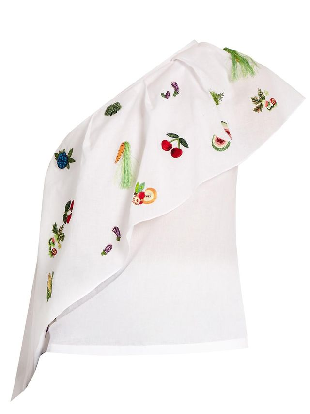 One-shoulder embroidered cotton top