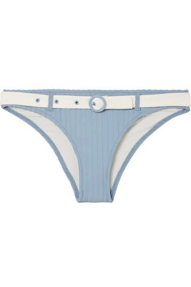 The Rachel Belted Ribbed Stretch-Knit Bikini Briefs
