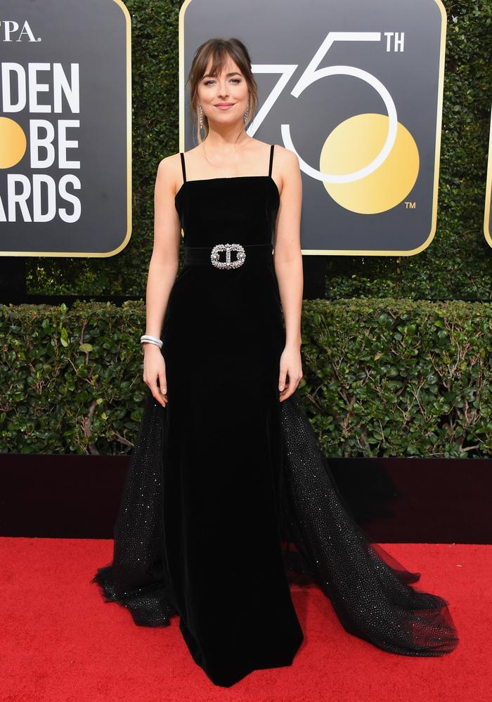 Dakota Johnson wearing Gucci at Golden Globes 2018