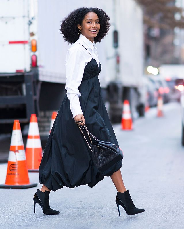 On Yara Shahidi: 3.1 Phillip Lim dress and shirt; Loriblu boots; Paige Novick earrings Similar Styles: Equipment Arlette Shirt ($154); H&M Lace Dress ($80); Lola Cruz Velvet...