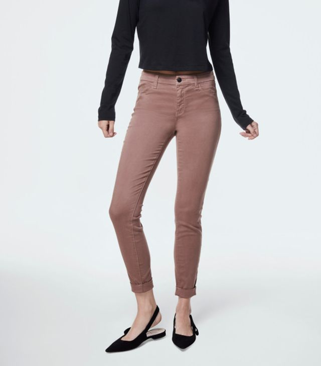 Anja Mid-Rise Cuffed Cropped Skinny in Luxe Sateen Pottery