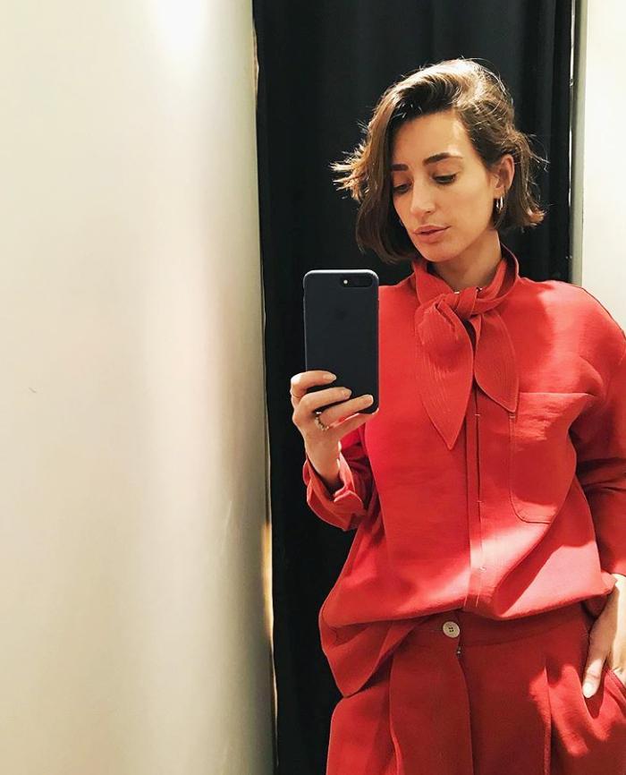 Mango red shirt: Laura Jackson