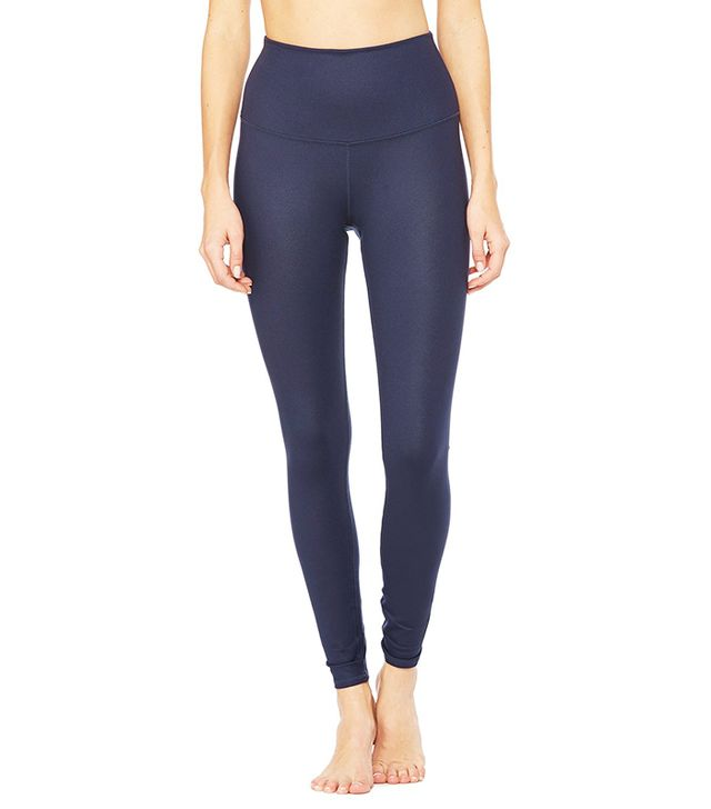 Alo High Waist Airbrush Leggings in Rich Navy Glossy