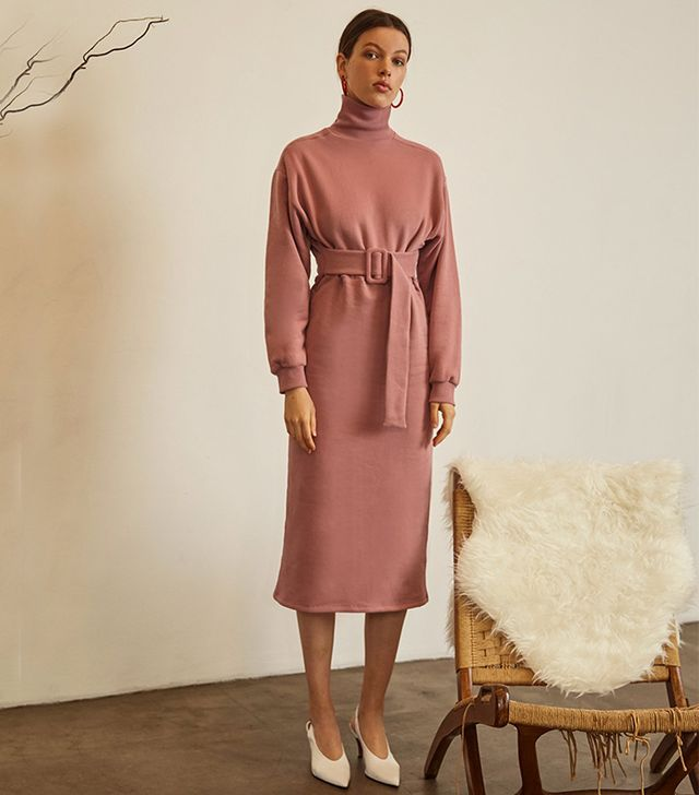 Pixie Market Dree Pink Sweatshirt Belted Dress