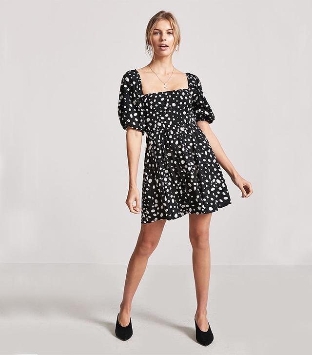 Forever 21 Polka Dot Smocked Dress