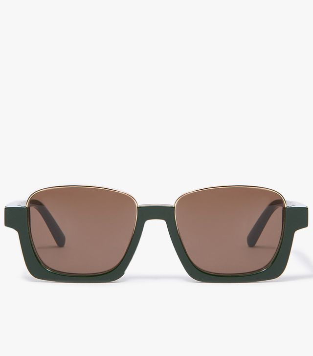 Crop Round Frame Sunglasses in Green