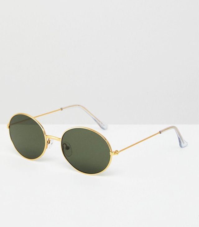 ASOS 90s Oval Metal Sunglasses in Gold