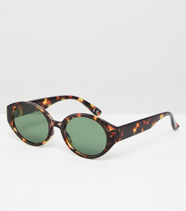 ASOS Fine Frame Oval Sunglasses in Tort