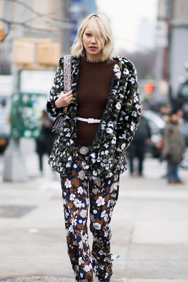 Stick to a solid-colored sweater to ground printed pieces.
