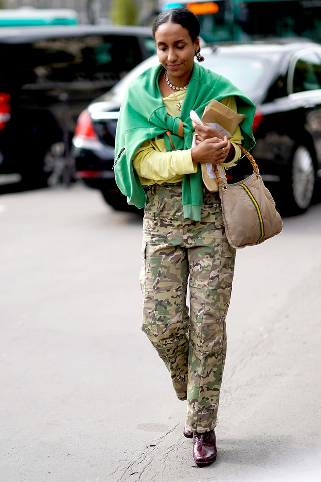 Swap out solid trousers for a camo pair.