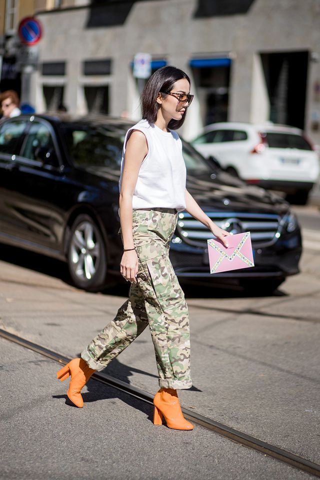 We love the loose fit of these camo trousers.