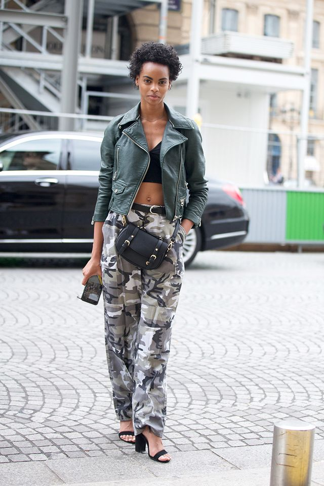 Try styling camo pants with heels.