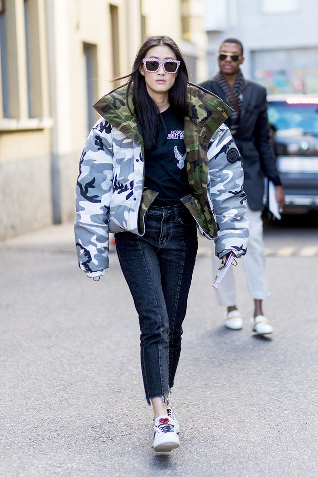 Upgrade your puffer coat to a camo version.