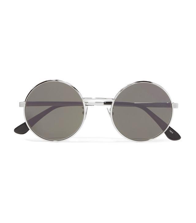 Round-frame Silver-tone Sunglasses