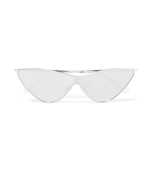 The Fugitive Cat-eye Silver-tone Mirrored Sunglasses