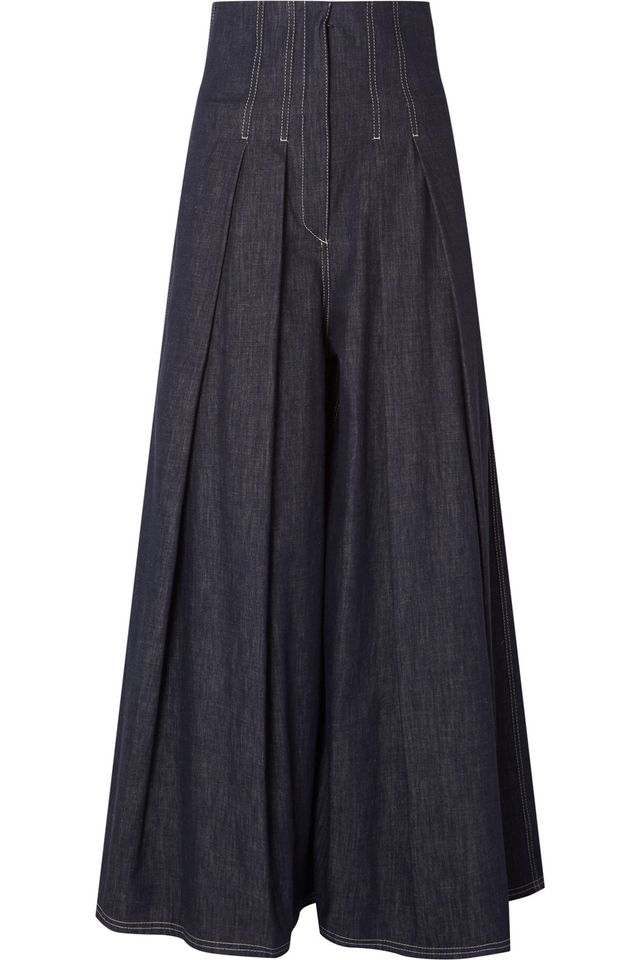 Pleated High-rise Wide-leg Jeans