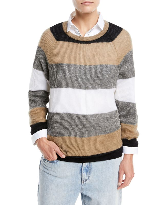 Brunello Cucinelli Mohair Rugby Stripe Sweater