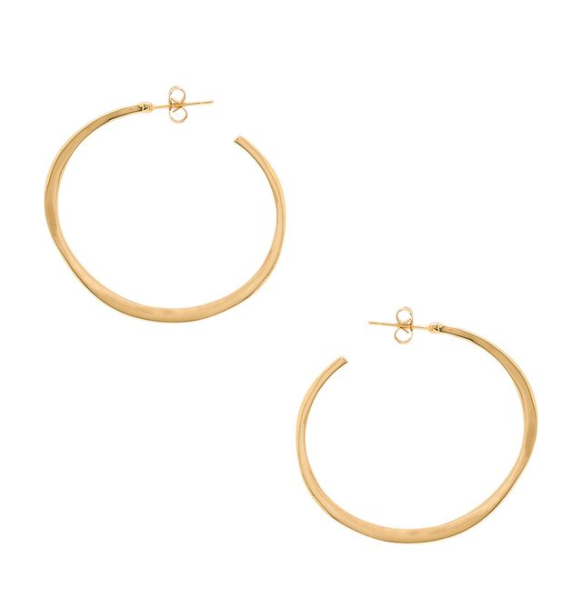 Arc Large Hoop Earrings in Metallic Gold.