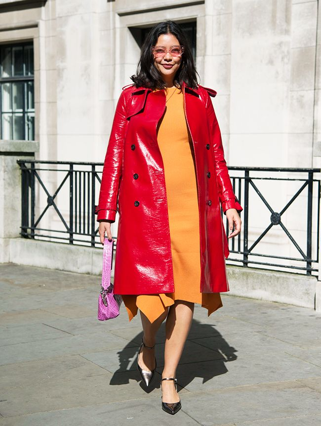 Celebrities wearing ASOS: Model, documentary maker and body image activist Naomi Shimada in ASOS's red vinyl trench coat