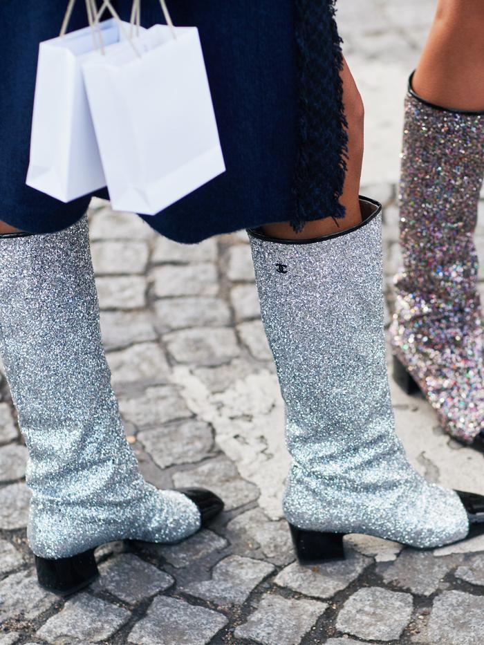 Best Glitter Boots: Chanel glitter boots