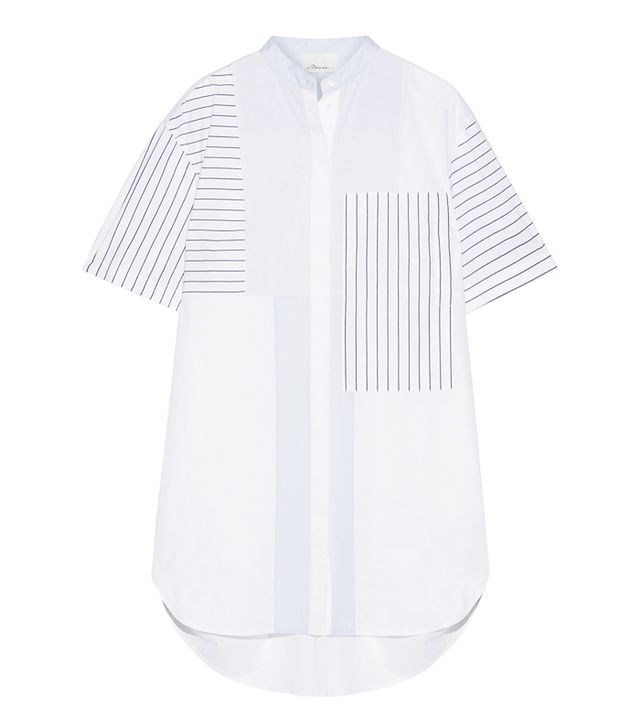 Patchwork Striped Cotton-poplin Mini Shirt Dress