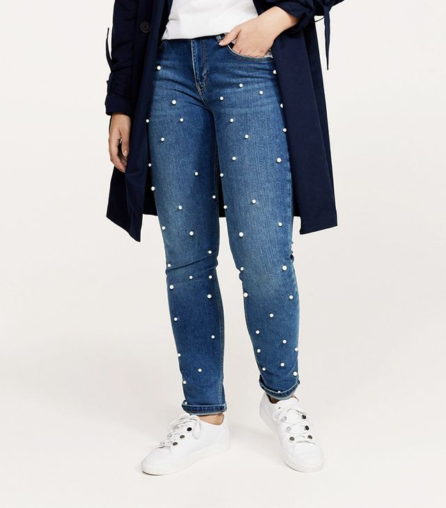 Pearl embroidery jeans