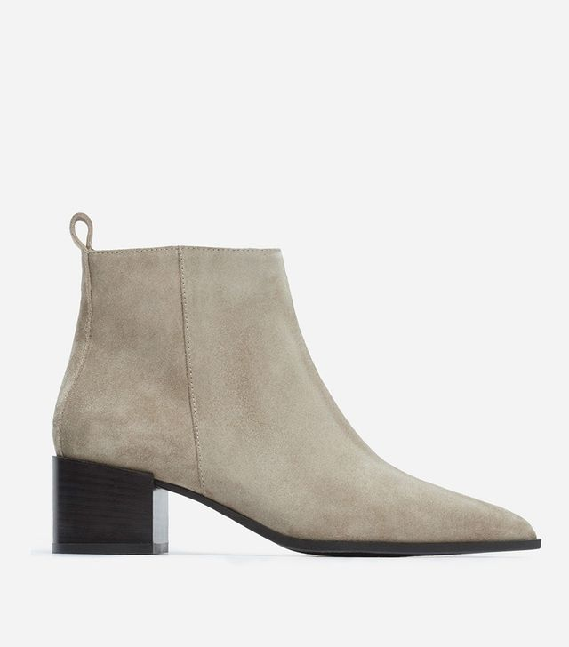 Women's Pointy Boot by Everlane in Taupe Grey Suede, Size 6.5