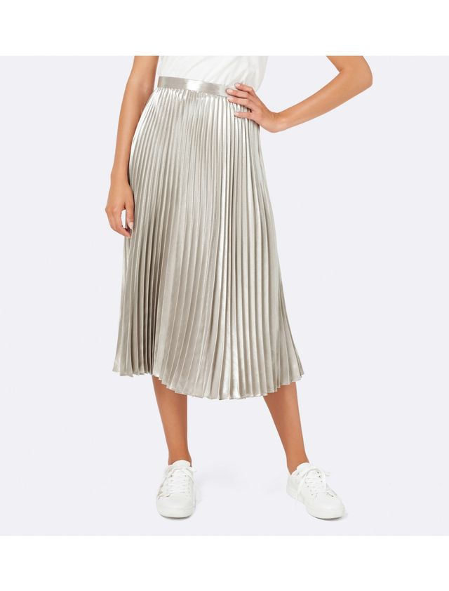 Plus Size Metallic Pleated Skirt
