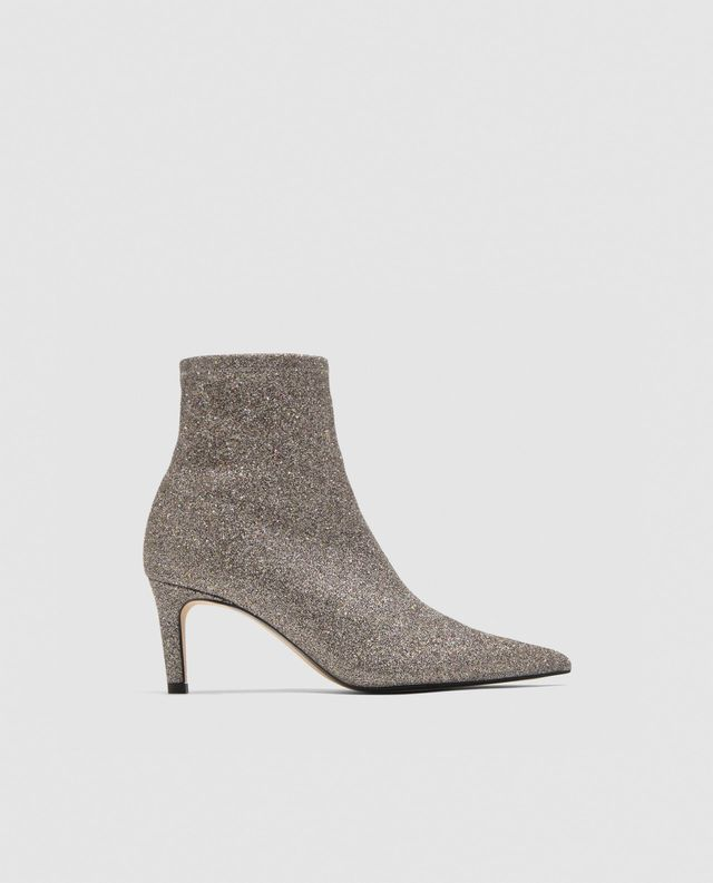 SILVER STILETTO HEEL ANKLE BOOTS