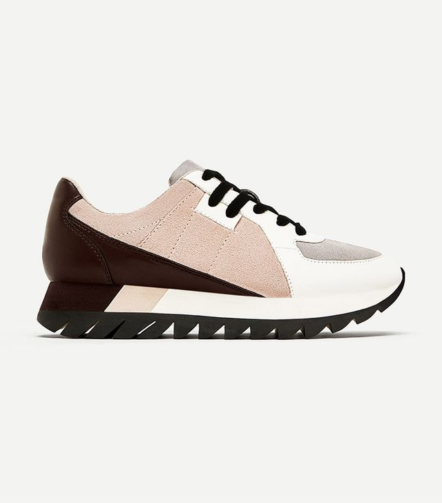 Zara Contrasting Leather Platform Sneakers