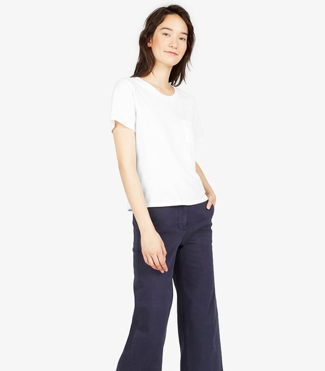 Women's Cotton Box-Cut Pocket T-Shirt by Everlane in White, Size L